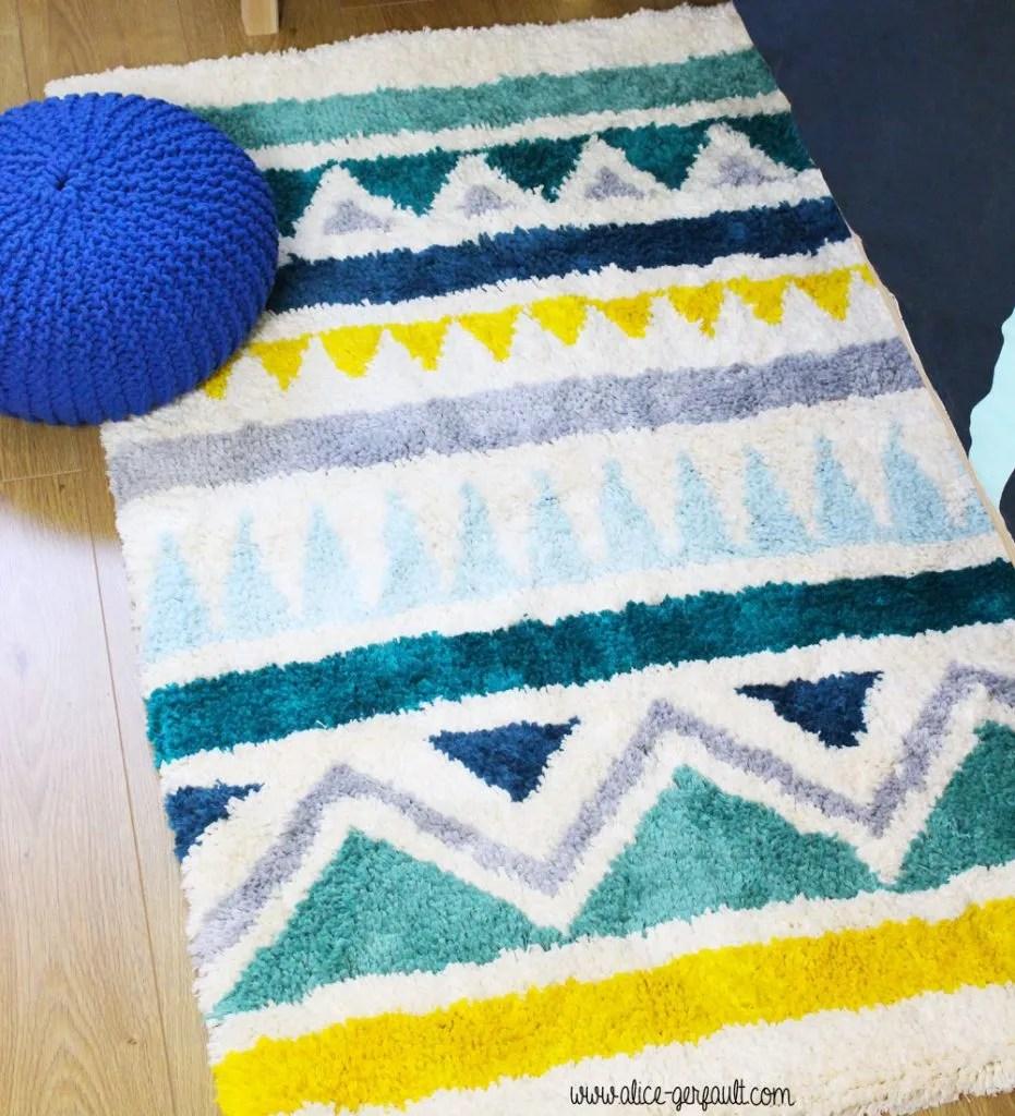tapis au point noue geometrique diy