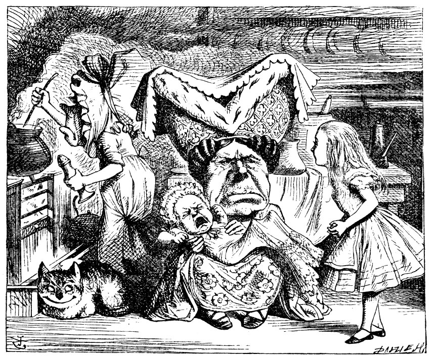Alice with the Duchess, cook and baby