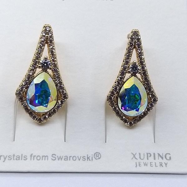 Серьги Xuping с кристаллами Swarovski покрытые 18К золотом