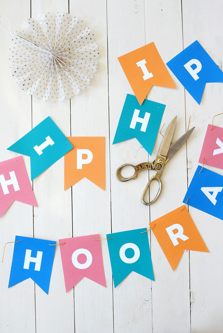 Print out this Hip Hip Hooray banner for your next celebration. It's a free printable you can download and print.