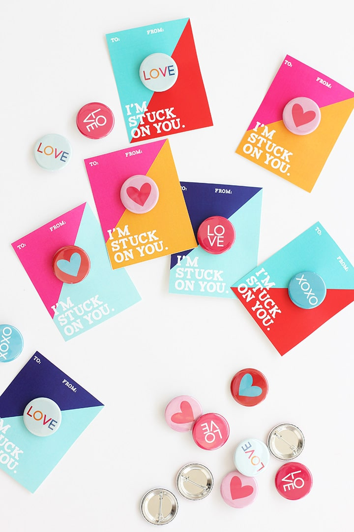 Valentine Buttons with Free Printable | alice & lois