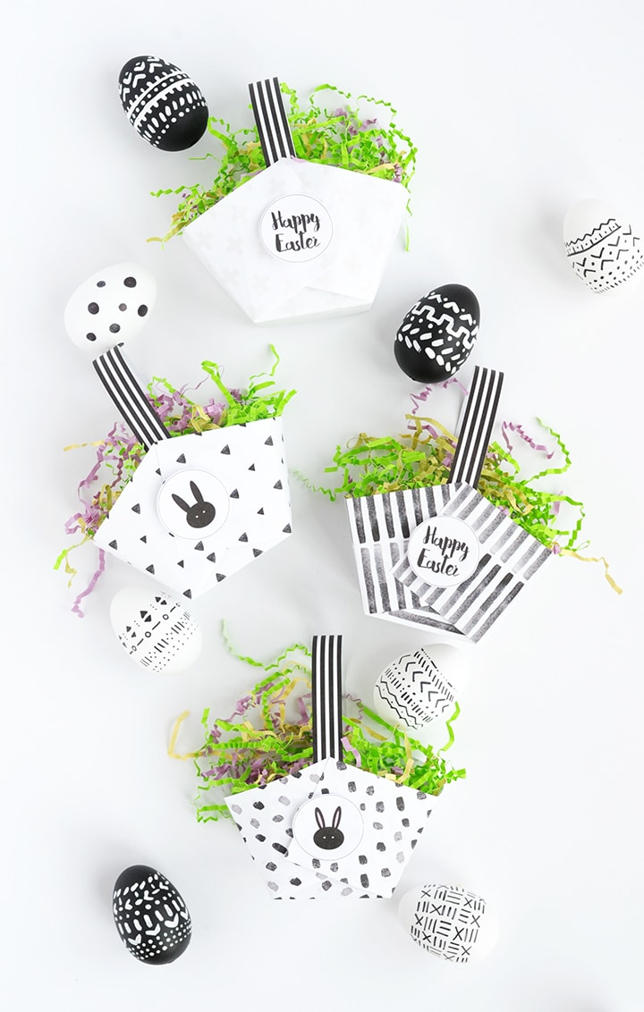 You can make these adorable and modern paper Easter baskets in under five minutes with these free printables!