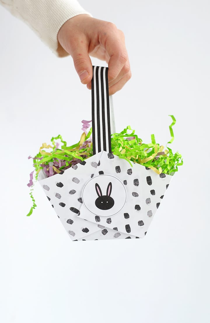 Modern DIY Paper Easter Baskets with Free Printable