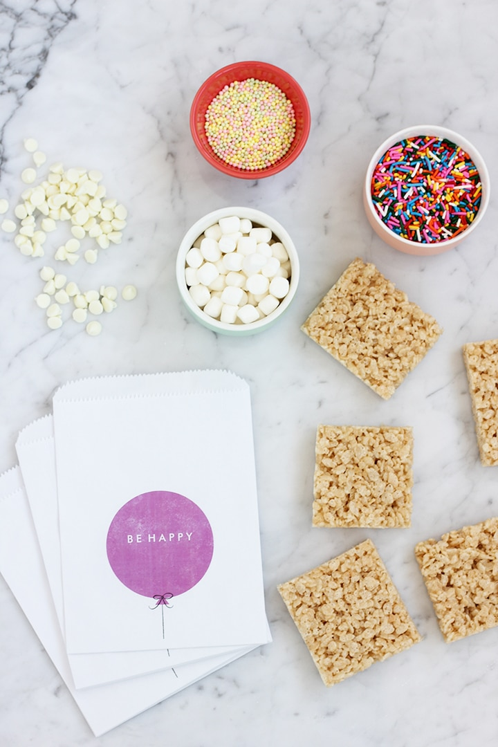 Kids Birthday Party make your own treats - dipped rice crispy treats!