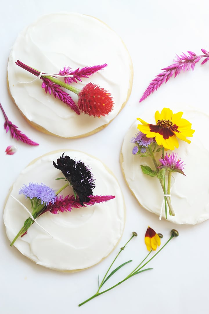 The Best Sugar Cookie Recipe! Top them with a mini fresh flower bouquet for a special touch.