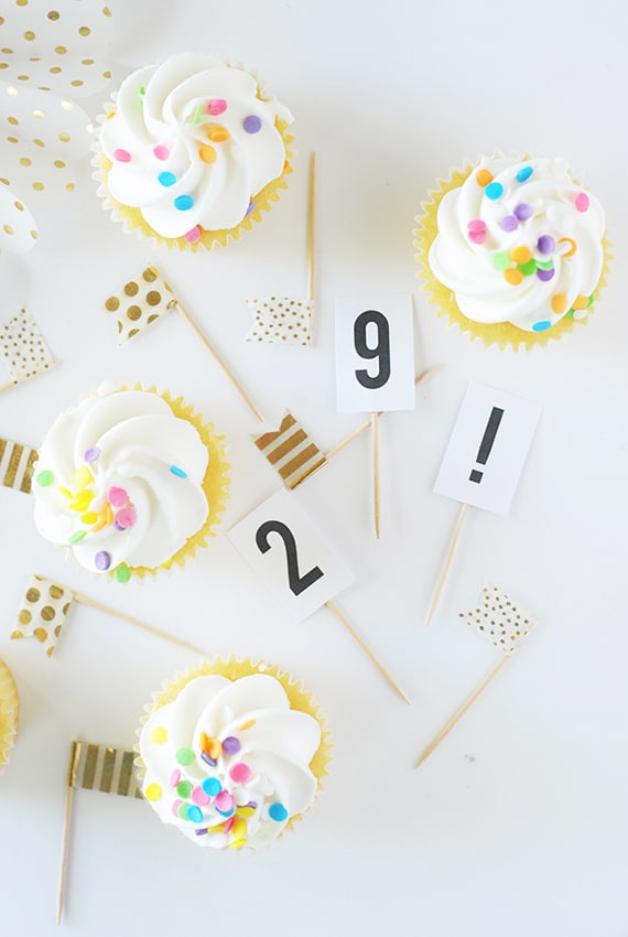 DIY Washi Tape Cupcake Toppers