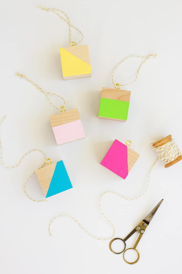 DIY Modern Wood Block Ornaments