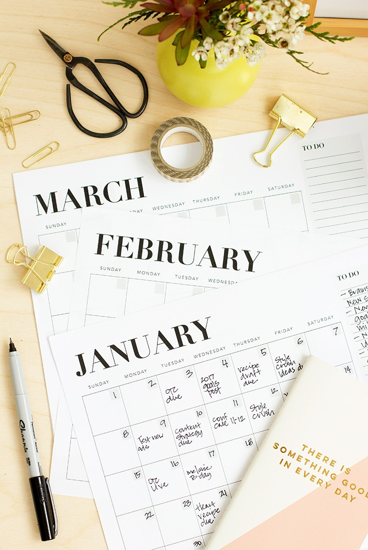 Download and print this Free Printable Monthly Calendar.