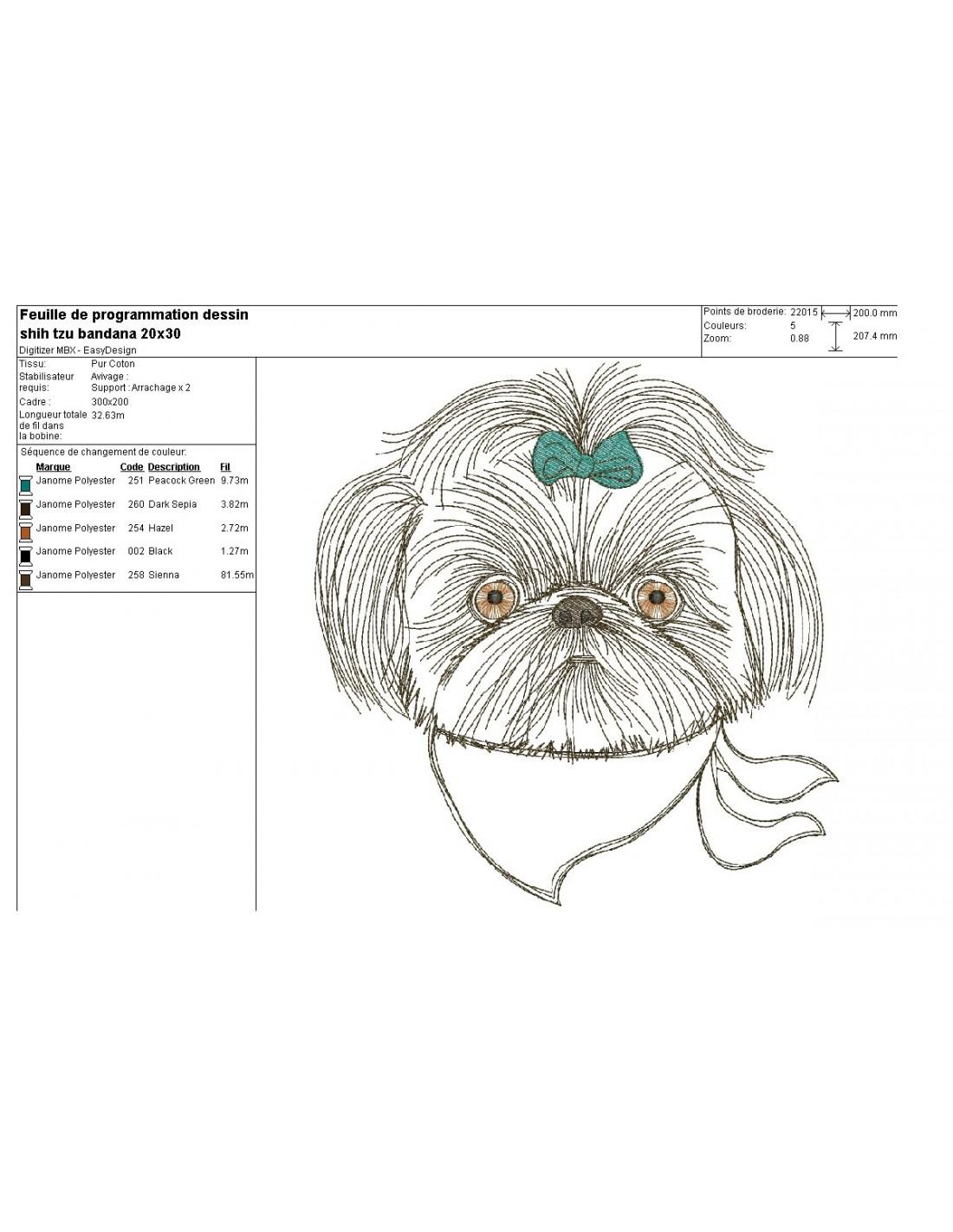 Embroidery Design Dog Shih Tzu