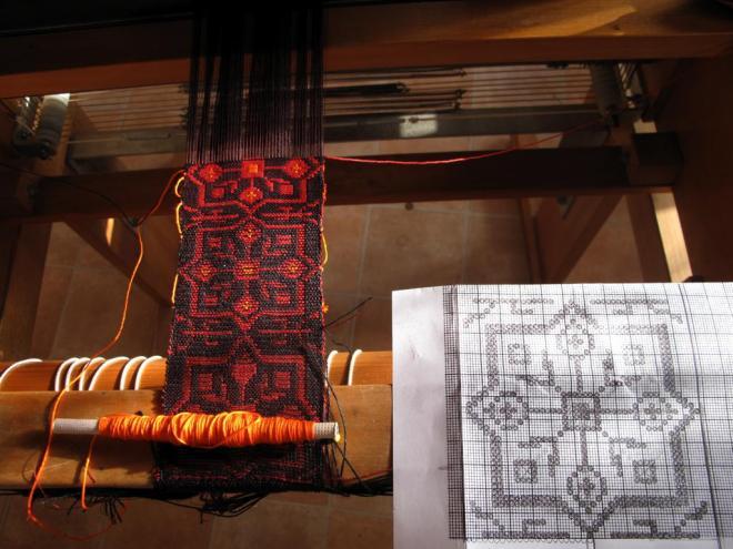lin, tissage, métier à tisser, arm, métier à échantillonner, 24 cadres