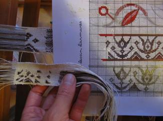le travail de conception d'un motif tissé