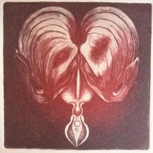 """""""Coeur de marie"""", aquatinte sur cuivre."""