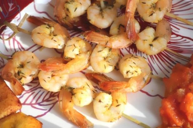 Brochettes de crevettes thym et orange (9)