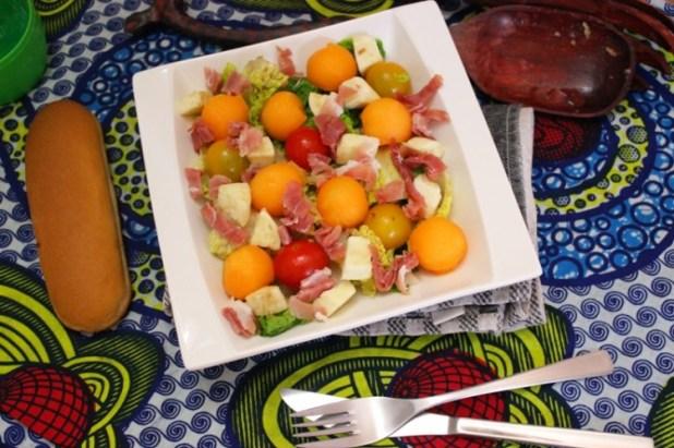 Salade de melon tomate mozzarella et jambon