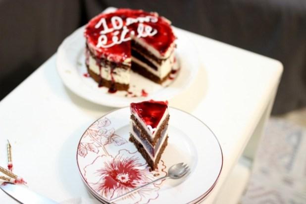 gateau au chocolat et framboise