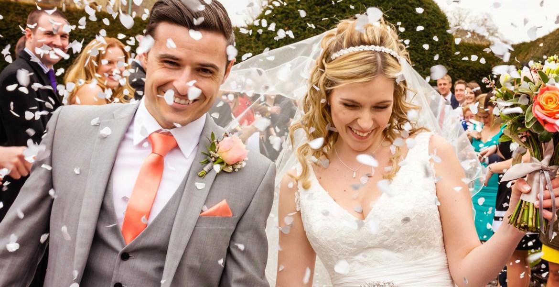 Documentary wedding photography confetti