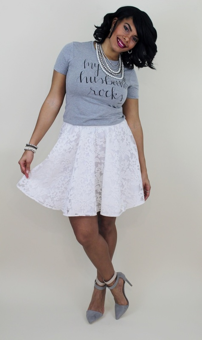 What To Wear On Valentines Day My Husband Rocks Graphic Tee Lace Skater Skirt Alicia
