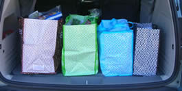 transport in car reusable shopping bags