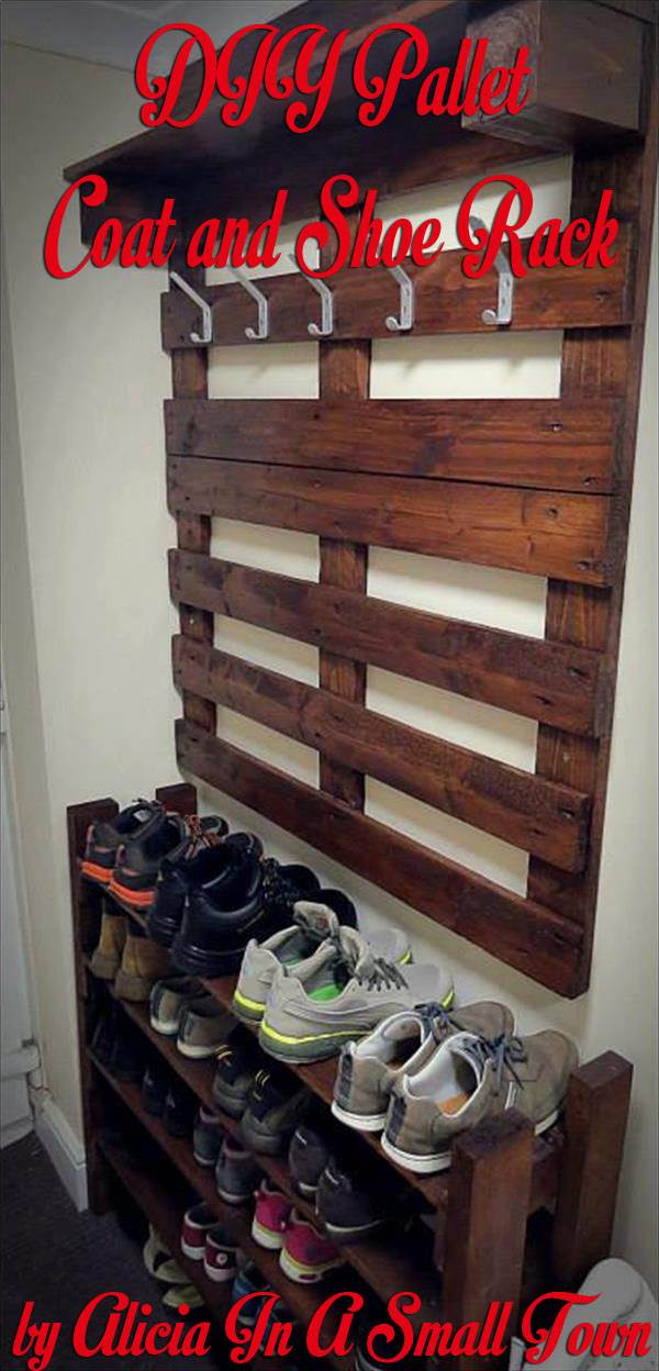 DIY Pallet Coat and Shoe Rack