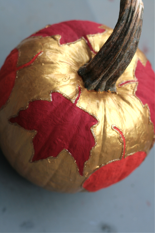 Leaf-Decoupaged Pumpkin