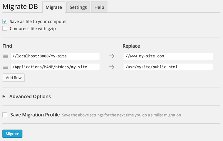 Migrate DB Settings
