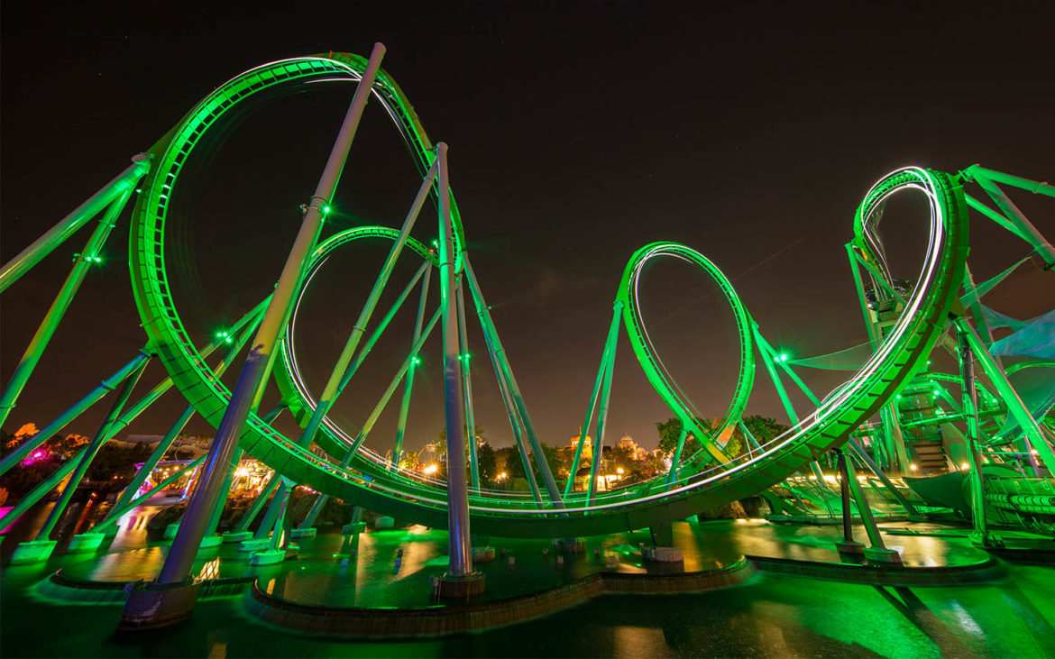 Image result for the incredible hulk coaster orlando nighttime picture