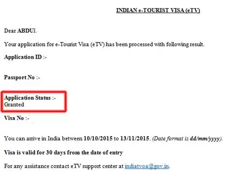 visa india granted