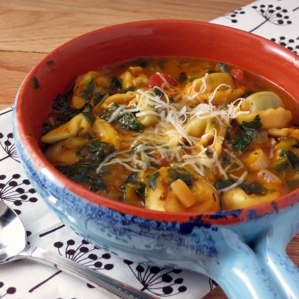 Tortellini Soup with Chunky Tomatoes and Spinach