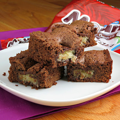 chocolate coconut candy filled brownies