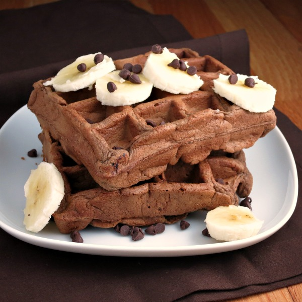 Chocolate Banana Whole Wheat Waffles