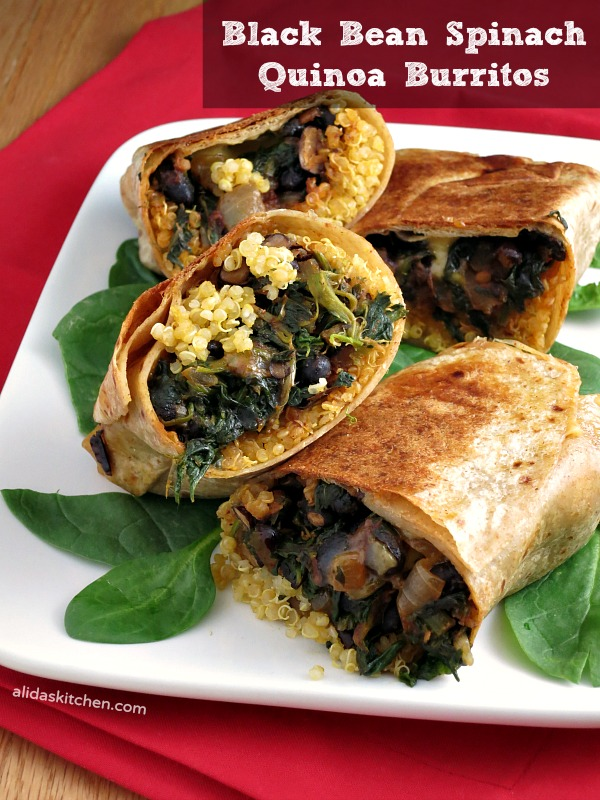 Black Bean Spinach Quinoa Burritos | alidaskitchen.com