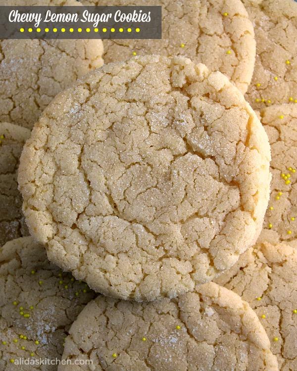 Chewy Lemon Sugar Cookies | alidaskitchen.com #recipes #lemon #cookies #SundaySupper