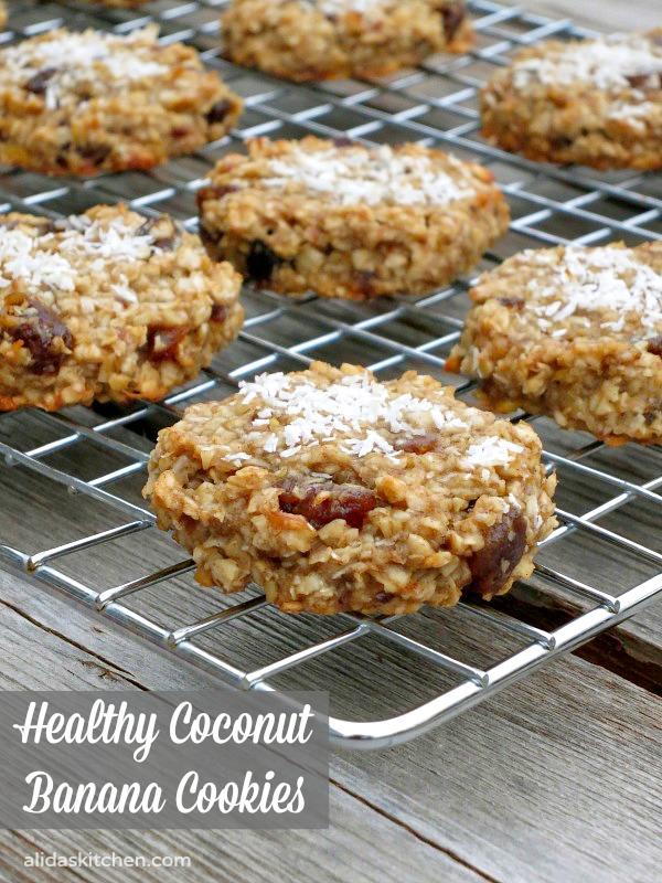Healthy Coconut Banana Cookies | alidaskitchen.com