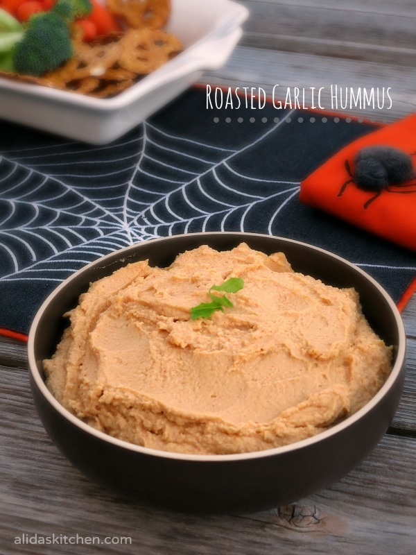 Roasted Garlic Hummus | alidaskitchen.com #recipes #SundaySupper #Halloween #glutenfree