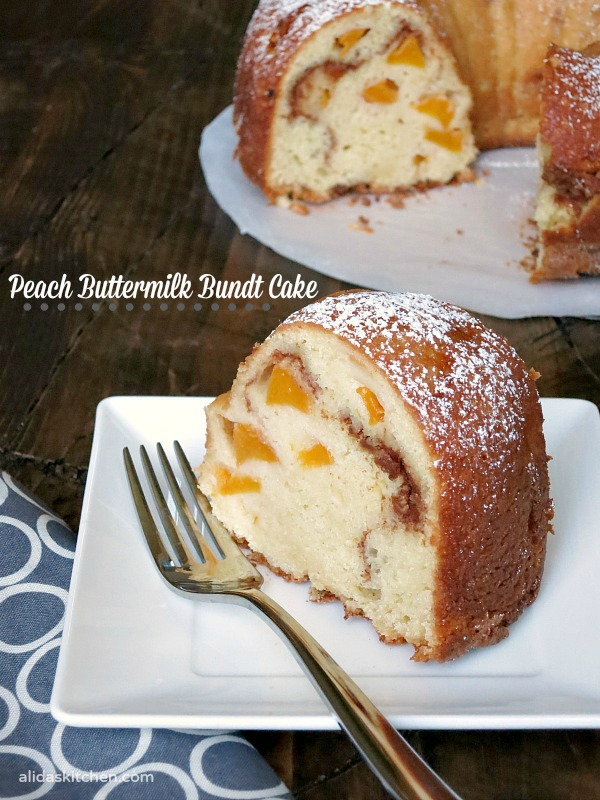 Peach Buttermilk Bundt Cake | alidaskitchen.com