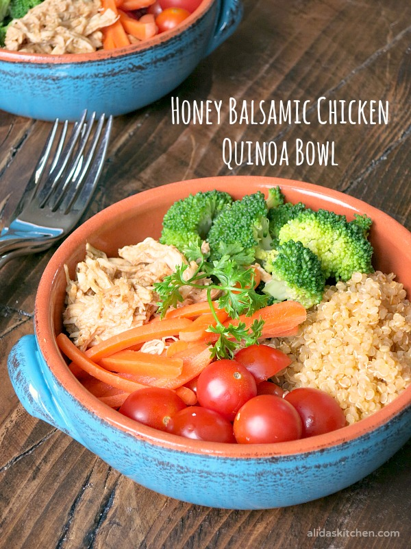 Honey Balsamic Chicken Quinoa Bowl | alidaskitchen.com