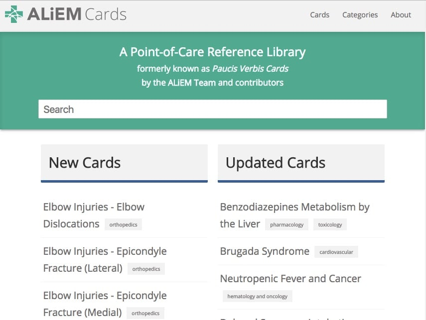ALiEM Cards website