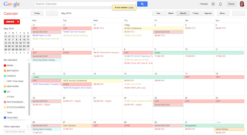 Screen Capture of Google Calendar