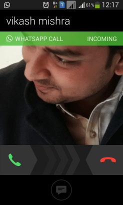 Incoming Call from WhatsApp