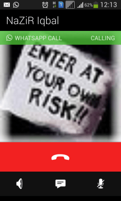 Outgoing call from Whatsapp