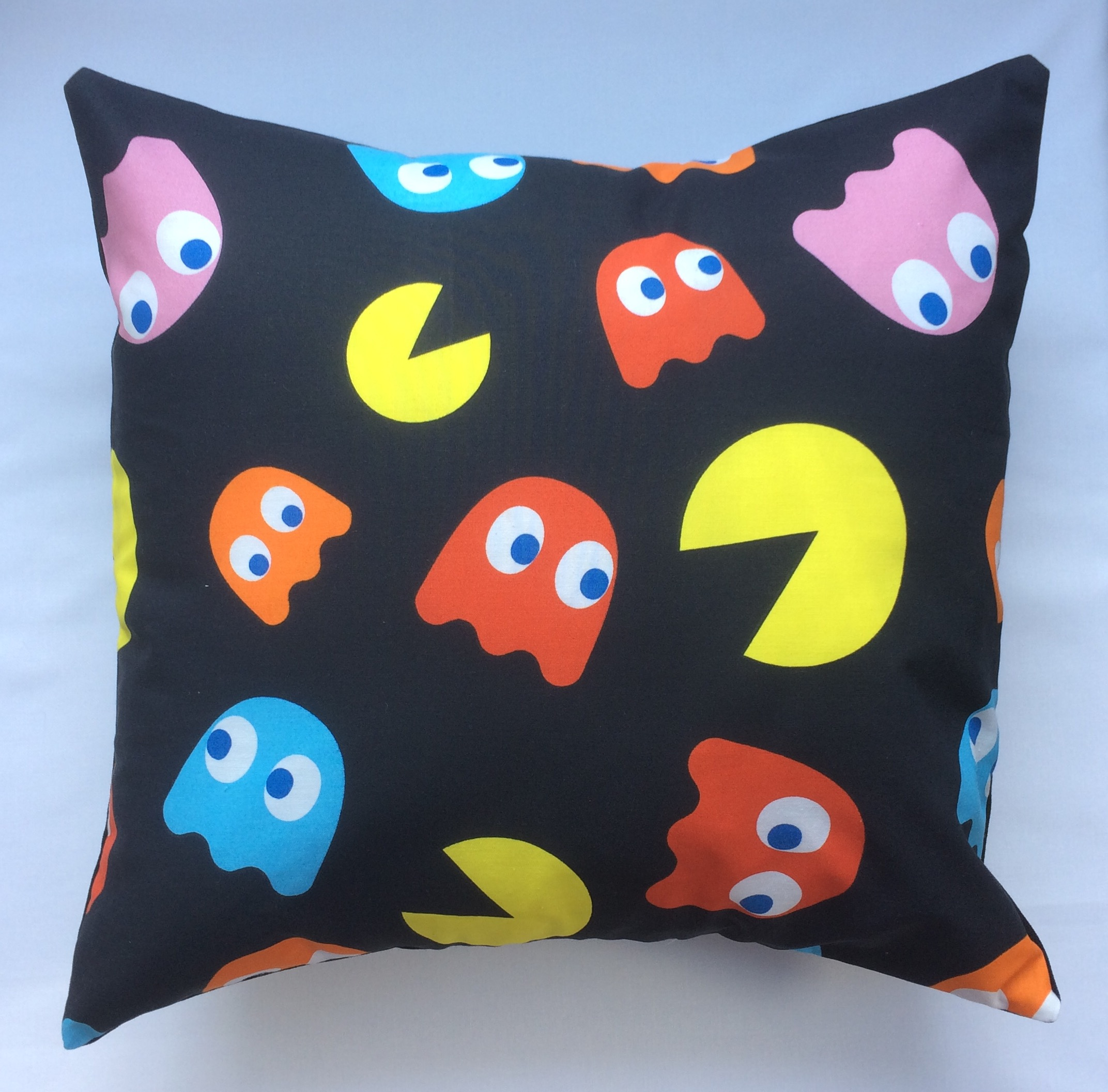 pacman fabric cushion handmade by alien couture