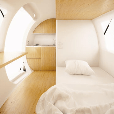 Interior of the Ecocapsule designed by Nice Architects.