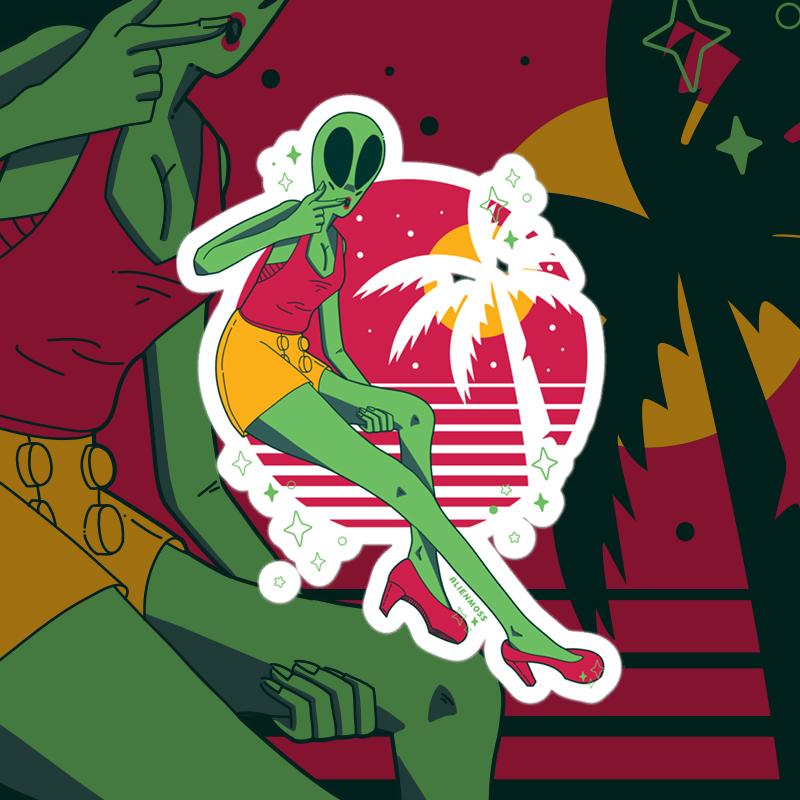 Alien Babe Sticker