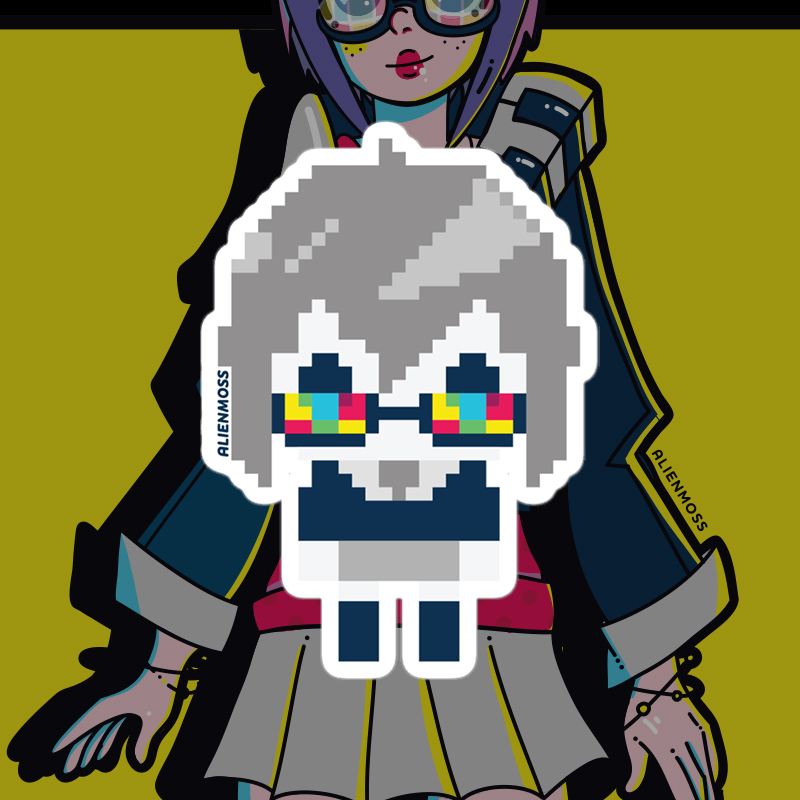 Pixel Viki Sticker