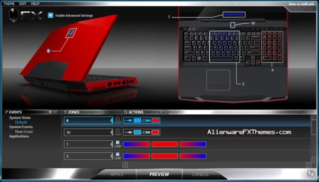 Blue vs Red 2 M17x Alienware FX Theme