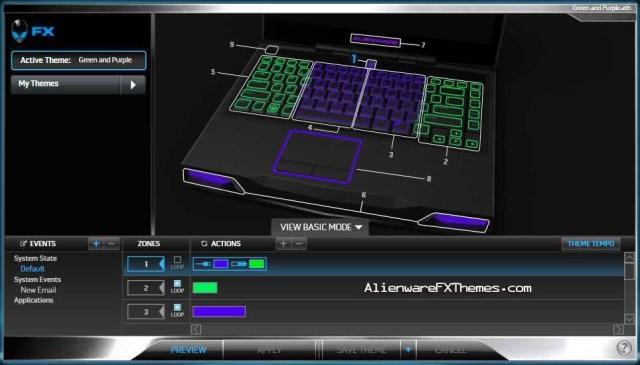 Green and Purple M14x Alienware FX Theme