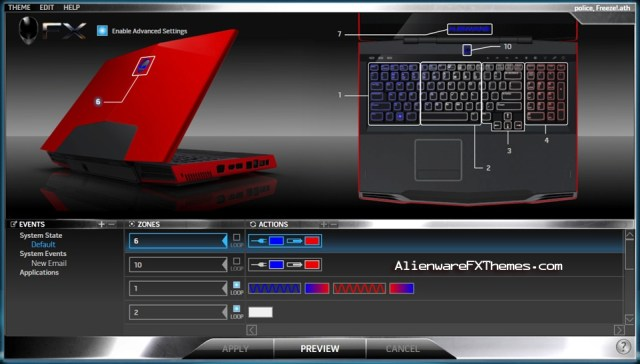Police Freeze M17x Alienware FX Theme