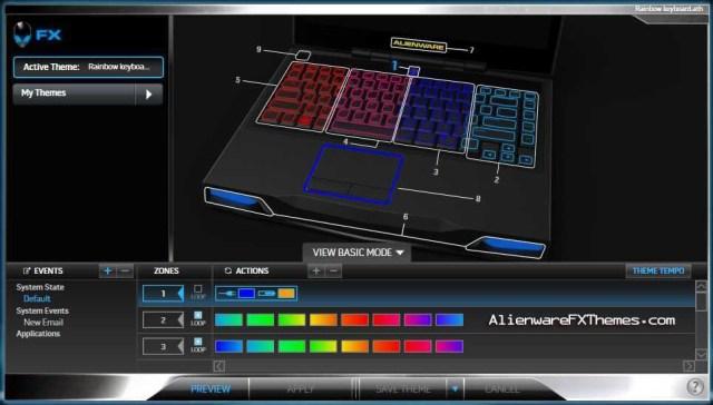 Rainbow keyboard M14x Alienware FX Theme