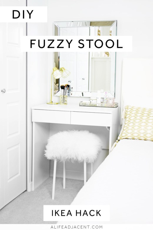 DIY fuzzy stool IKEA Hack