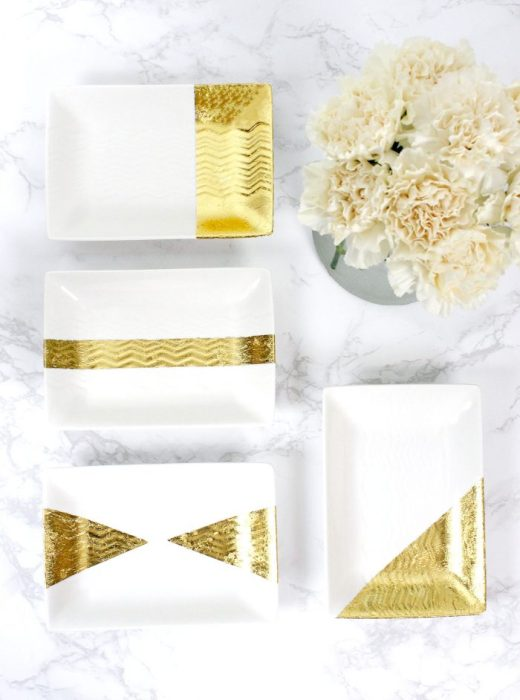 Homemade gold leaf jewelry trays